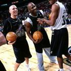 Jason Kidd, Michael Jordan and Ray Allen joke around during practice before the All-Star Game in Philadelphia.