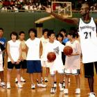 Kevin Garnett shows his skills during an NBA clinic in Tokyo.