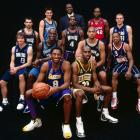 Nash poses with the Western Conference All-Stars during the NBA's 2002 All-Star Weekend in Philadelphia. The point guard dished out nine assists in the team's 135-120 triumph.