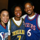 Dawn Staley of the Charlotte Sting and Nikki McCray of the Indiana Fever pose with Will Smith backstage at the NBA All-Star Read to Achieve Celebration in Philadelphia.