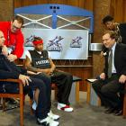 "Jason Kidd gets prepped for his and Allen Iverson's taping of ""Meet The Press"" with Tim Russert during All-Star Weekend."