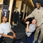 Shariff Abdul-Rahim, Jason Kidd and Alonzo Mourning hang out in the East locker room during All-Star Weekend.