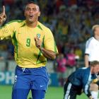 Ronaldo runs away signaling his No. 1 status after scoring his second goal against Germany in the 2002 World Cup final.