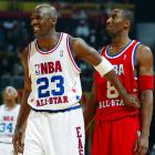 Kobe shares a laugh with Michael Jordan during the 2003 All-Star Game.