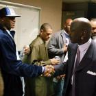 LeBron got to meet Michael Jordan while His Airness was still playing. Jordan had just finished playing against the Cavaliers in this picture.