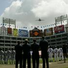 Pregame flyover before the Seattle Mariners game against the Texas Rangers in Arlington in April 2003.
