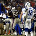 Ty Law had three of New England's four interceptions of Peyton Manning, and Tom Brady was coolly efficient in helping the Pats advance to Super Bowl XXXVIII. (Brady 4, Manning 0)