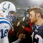 Peyton Manning and Tom Brady shake hands after New England's 24-14 victory over the Colts in the AFC Championship.