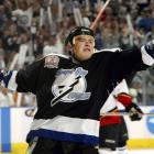 Ruslan Fedotenko of the Tampa Bay Lightning celebrates his first period goal against the Calgary Flames in Game 7 at the St. Pete Times Forum in Tampa, Fla. Fedotenko, who was high-sticked in the game, scored again late in the second period to give the Bolts a 2-1 win.