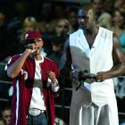 Will Smith is dwarfed by Shaquille O'Neal as the two present an award at the MTV Video Music Awards in Miami.
