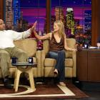 SI swimsuit model Carolyn Murphy compares hand sizes with Charles Barkley on The Tonight Show with Jay Leno.