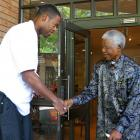 Denver Nuggets center Marcus Camby meets Mandela during Day 6 of the ''Basketball Without Borders'' African camp at the Nelson Mandela Foundation in Johannesburg.