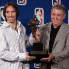 Established as one of the most unselfish players in the league, Nash received some hardware of his own in 2005. Jerry Colangelo presents him with the MVP Trophy, the first of two consecutive seasons he'd bring home the award.