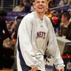 Jason Kidd laughes it up before the New Jersey Nets game against the Los Angeles Lakers.