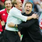 After defeating Argentina on penalties in the 2006 World Cup quarterfinals, Klinsmann celebrated with Germany assistant Oliver Bierhoff in Berlin. The two were former teammates in the German side, for which Klinsmann scored 47 goals in 108 appearances.