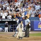 Mike Piazza acknowledges the crowd at Shea Stadium as he steps up to the plate in his first at-bat with the Padres against the Mets on Aug. 8, 2006.