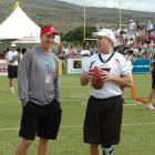Peyton Manning spends some time with Broncos legend John Elway before the 2006 Pro Bowl skills challenge.