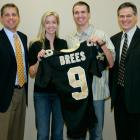 Drew Brees poses with coach Sean Payton, wife Brittany and general manager Mickey Loomis after signing a six-year, $60 million deal with the Saints in 2006. Number nine would prove to be a wise investment for New Orleans, leading the franchise to its only Super Bowl championship.