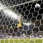 Mexican goalkeeper Oswaldo Sanchez dives in a vain attempt to save a brilliant extra time volley from Argentina's Maxi Rodriguez in the 2006 World Cup.