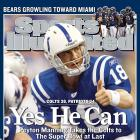 The Patriots suffered their most devastating defeat of the Brady-Belichick era with a spectacular collapse in the AFC Championship Game against the Colts. Peyton Manning threw for 349 yards (137 to tight end Dallas Clark) and rallied Indianapolis from a 21-3 deficit to secure the improbable victory — completing the biggest comeback in conference title-game history. (Brady 6, Manning 3)