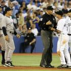 """During an early-season matchup with the Blue Jays in 2007, Rodriguez got into some hot water north of the border. With two out in the ninth and the Yankees leading 10-5, Jorge Posada hit an infield pop-up. As third baseman Howie Clark settled under the ball, Rodriguez ran past him on the base path. Video replays clearly showed Rodriguez yelling something that was described by Jays on the field as """"Mine!"""" or """"I got it!"""" The ball dropped, a run scored and shortstop John McDonald had to be restrained from attacking Rodriguez, who insisted he only yelled, """"Ha."""""""