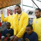 Kenyon Martin, Anthony, Allen Iverson and Chucky Atkins -- Denver teammates in 2007 -- enjoyed a round of video games with local elementary students during the Nuggets' annual holiday party at the Pepsi Center.