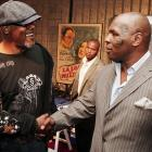 """Samuel L. Jackson shakes hands with Mike Tyson at the afterparty for the premiere of Yari Film's """"Resurrecting the Champ"""" at the Academy Theater in Beverly Hills."""