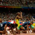 Bolt looks up before the start of the 100m semifinals during the 2008 Summer Olympics in Beijing, China.
