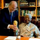 FIFA President Sepp Blatter and Mandela enjoyed a jovial moment during Blatter's visit to inspect World Cup preparations.