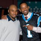 Will Smith poses with Panthers wide receiver Steve Smith at the premiere of ''Seven Pounds'' at the Regal Stonecrest in Charlotte, NC.
