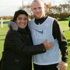 Rooney poses with Argentine national manager Diego Maradona at Carrington Training Ground on Nov. 7, 2008 in Manchester, England.