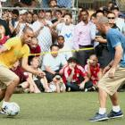 A soccer fan when he was young, Kidd got to test his futbol skills against Thierry Henry at Steve Nash's Showdown in Chinatown in New York City.