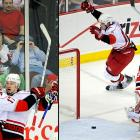 """Up 3-2 on home ice with the great Martin Brodeur in net and less than two minutes left to play, the Devils were sitting pretty, or so it seemed. Then Jussi Jokinen (left) scored for the Hurricanes with 1:20 to go and Eric Staal (right) shocked New Jersey by beating Brodeur with 32 ticks to spare on the clock. """"This is as sweet as it comes,"""" said Carolina goaltender Cam Ward, who made 32 saves. """"That's why you never give up and play until the final buzzer."""""""