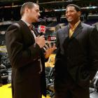 Love interviewed former NBA forward Robert Horry before Game 1 of the 2009 Finals between the Magic and Lakers at Staples Center in Los Angeles.