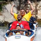 Kobe acts like a kid again, riding the Matterhorn Bobsleds at Disneyland in June 2009.