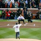 Mike Piazza looks to catch Tom Seaver's ceremonial first pitch before the Mets' inaugural game at Citi Field against the Padres on April 13, 2009.