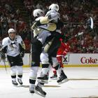 A warm embrace ensued after Evgeni Malkin opened the scoring in Game 2 by netting a power-play goal late in the first period, but the Red Wings came back to win the game, 3-1, at Joe Louis Arena in Detroit.