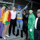 Radar gun operator Brett Weber as the Joker, video coordinator Anthony Flynn as Robin, pitcher Mark Melancon as Batman, manager Joe Girardi, shortstop Ramiro Pena as Catwoman, pitcher Michael Dunn as the Riddler, and massage therapist Lew Potter as the Penguin.