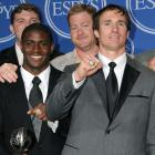 Alongside teammates Reggie Bush and Jeremy Shockey, Drew Brees accepted the ESPY for Best Team during the awards show. It was one of a number of awards that Brees captured, as he also was presented with trophies for Best NFL Player, Best Championship Performance and Best Male Athlete.