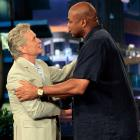 Charles Barkley greets actor Michael Douglas on The Tonight Show with Jay Leno.