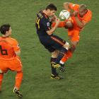 Nijel de Jong kicks Xabi Alonso in the chest during the 2010 World Cup final between Spain and the Netherlands.