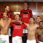 The Manchester United squad celebrates in their dressing room after the Carling Cup Semi-Final Second Leg match between Manchester United and Manchester City at Old Trafford on Jan. 27, 2010 in Manchester, England.