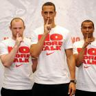 """England Captain Rio Ferdinand was joined by Wayne Rooney and Ashley Cole on June 2, 2010 at the Nike """"No More Talk"""" event in London, as they said their farewells to Football fans before departing for South Africa."""