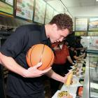Blake Griffin makes Subway 6-inch Cold Cut Combo and Meatball Marinara sandwiches like a champ. Apparently he was a frequent customer of this L.A. Subway restaurant during the lockout.