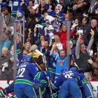 After being eliminated the previous two years by Chicago, Vancouver finally returned the favor. Alex Burrows scored his second goal 5:22 into overtime, Roberto Luongo made 31 saves, and the Canucks avoided an historic playoff collapse by knocking the defending Stanley Cup champions out in the first round. Burrows, who took a penalty early in OT, pounced on a Chris Campoli turnover and fired a slapper over the right shoulder of rookie goalie Corey Crawford. Vancouver had won the first three games before the Hawks roared back with three straight victories, threatening to spoil the Canucks' Presidents Trophy-winning season by becoming just the fourth team in NHL history to erase an 0-3 series deficit.