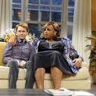 Charles Barkley acts in a sketch on Saturday Night Live with Paul Brittain. Barkley hosted the show after appearing on NBC's coverage of the NFL Wild Card playoffs that same day.