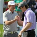 """The Great One"" Wayne Gretzky congratulates Drew Brees during the final round of the 10th Annual Michael Jordan Celebrity Invitational in Las Vegas."