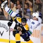 Pesky Bruins winger Brad Marchand had the job of making life incredibly difficult for the Canucks' superstar twins Daniel (right) and Henrik Sedin. Not only did he get physical with Daniel along the boards in Game 4, but also, as you may recall, Marchand famously took a series of unpenalized jabs at his face during a Game 6 stoppage.