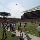 A U.S. Air Force C-17 jet at Paul Brown Stadium before a game between the San Francisco 49ers and the Cincinnati Bengals on Sept. 25, 2011, in Cincinnati.