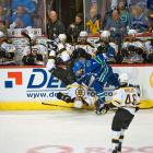 """Canucks defenseman Dan Hamhuis upended the Bruins' Milan Lucic in Game 1, not an easy thing to do to the hulking 6'-4"""", 220-pound forward."""